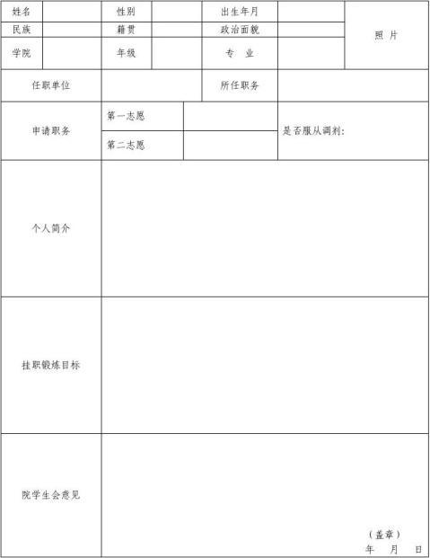 1104扬州大学学生会干部交流挂职锻炼计划