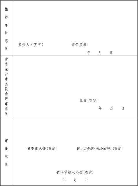 科技奖推荐表