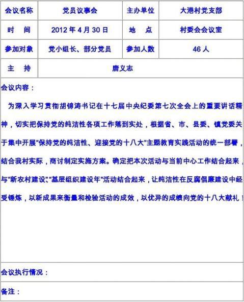 大港村党员议事会会议记录一