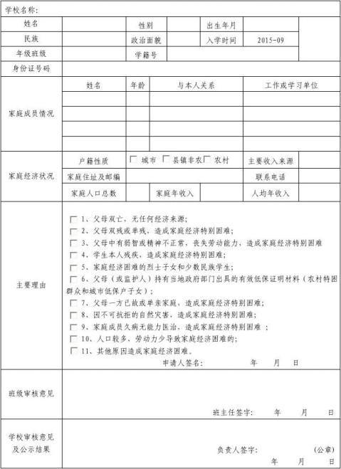 高中贫困家庭学生入库申请表附件2