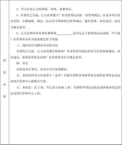 全国运动员代表资格协议书
