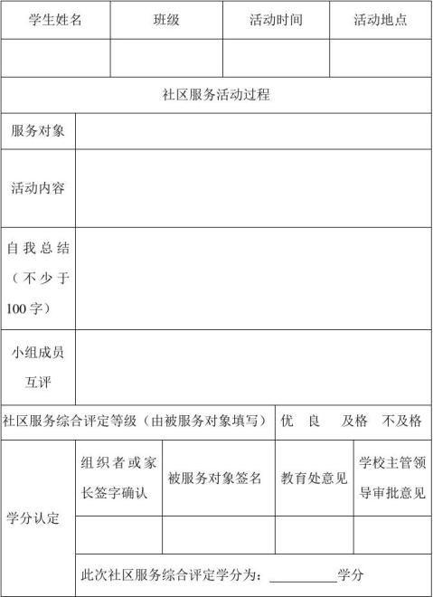 成都七中社区服务活动评价与学分认定表